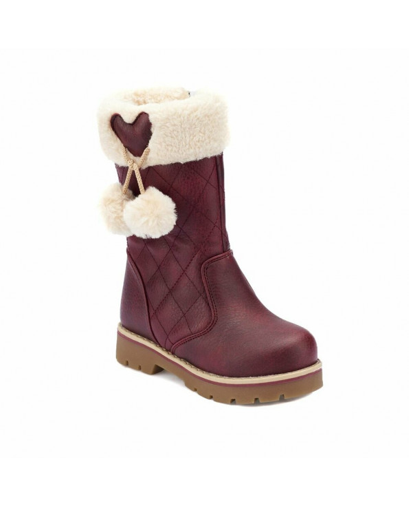 Girl's Fur Detail Claret Red Boots