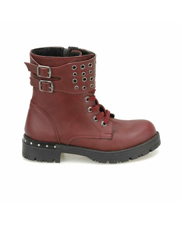Girls Claret Red Basic Boots