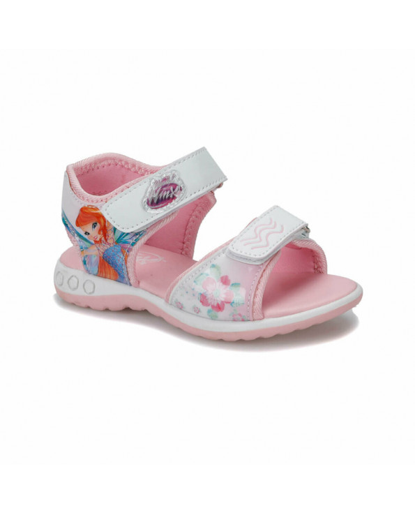 Girl's Patterned Pink Velcro Strap Sandals