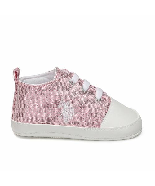 Girl's Lace-up Pink Sneakers
