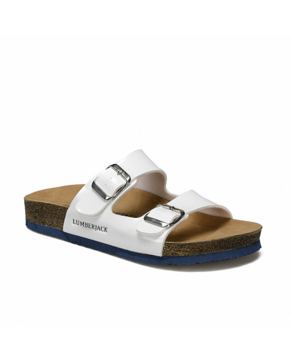 Women's Buckle White Slippers