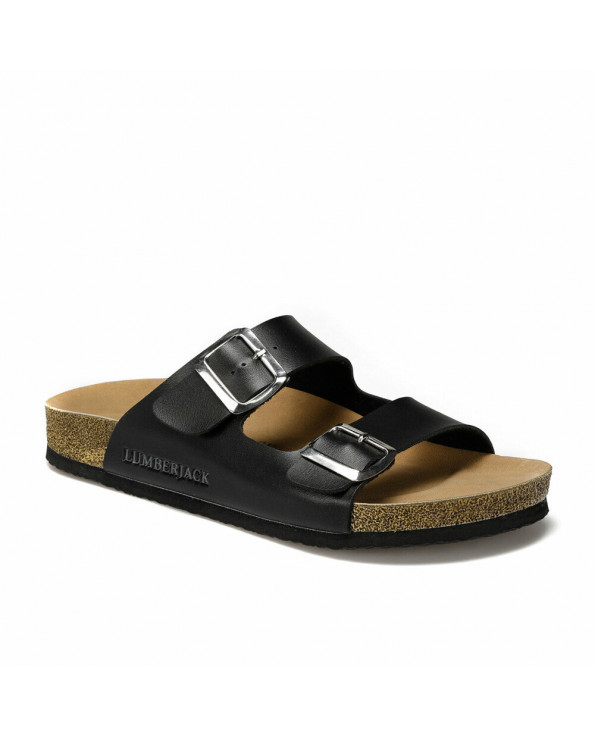 Men's Double Buckle Black Slippers
