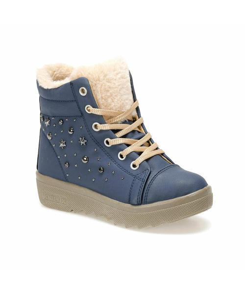 Girl's Lace-up Navy Blue Boots