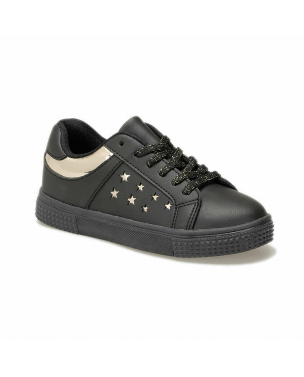 Girl's Lace-up Black Sneakers