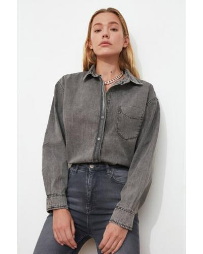 Women's Oversize Anthracite Denim Shirt