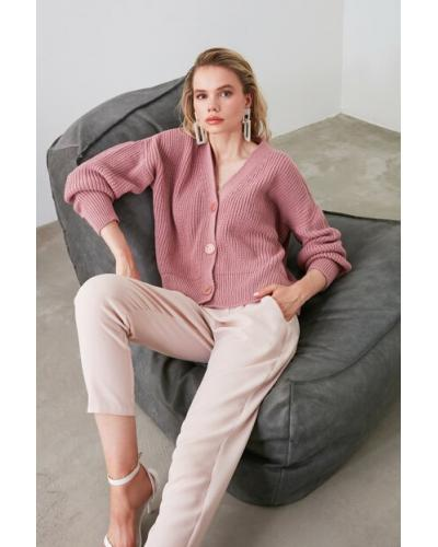 Women's Button Dusty Rose Tricot Cardigan