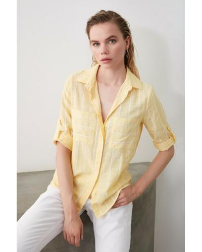Women's Pocketed Yellow Shirt