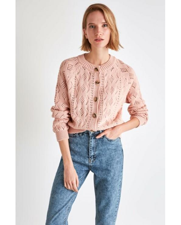 Women's Button Powder Rose Tricot Cardigan