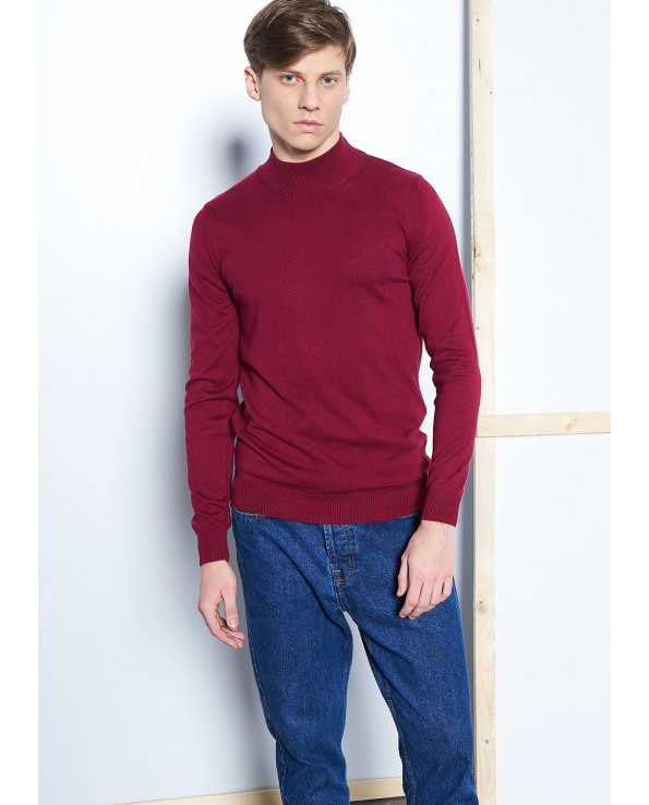 Men's Mock-Turtleneck Basic Claret Red Sweater