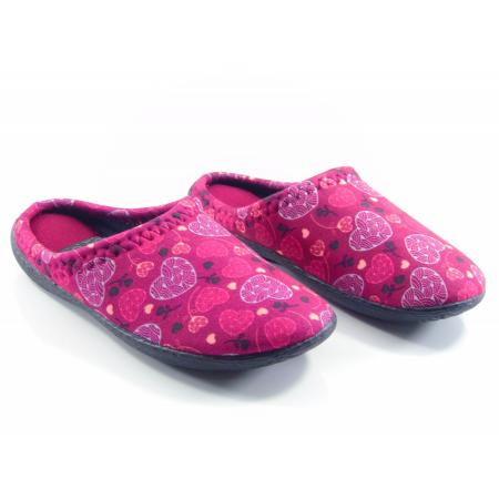 Women's Patterned Claret Red Winter House Slippers