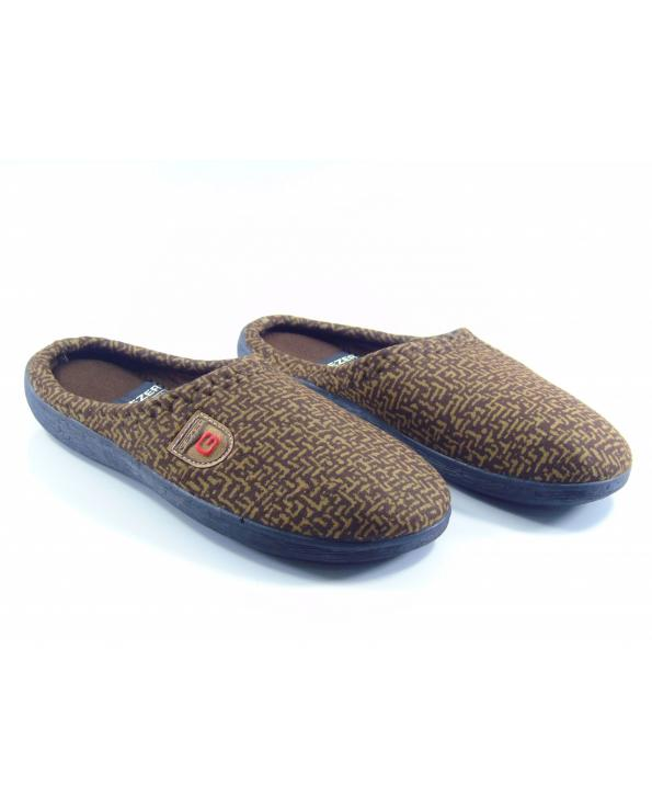 Men's Patterned Brown Winter House Slippers