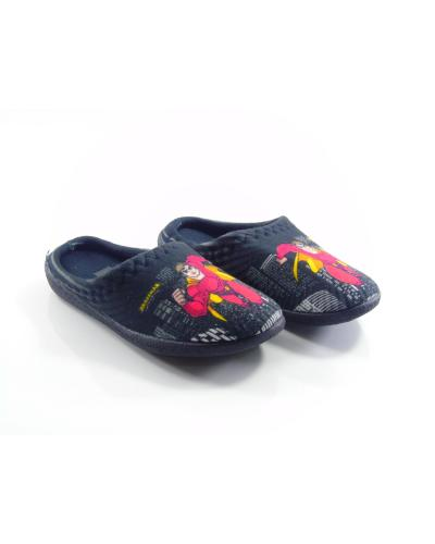 Boy's Printed Black Winter House Slippers