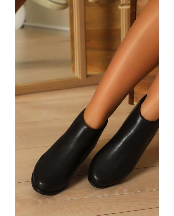 Women's Black Leather Short Boots