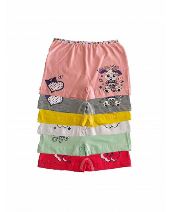 Girl's Printed Elastic Boxer (Ages- 3-4)
