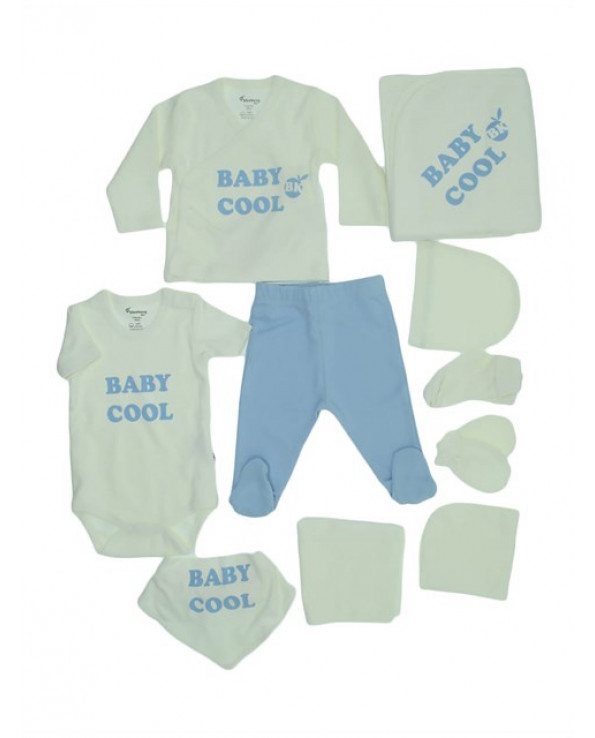 New Born Baby Boy's White Blue 10 Piece Outfit Set