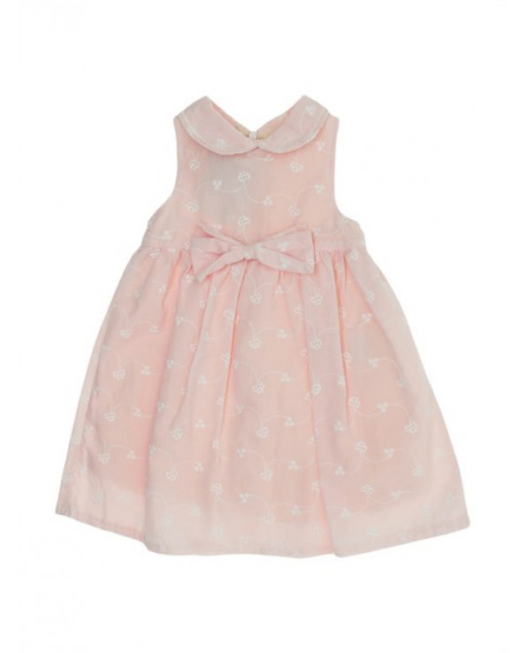 Girl's Bow-tie Waist Patterned Dress