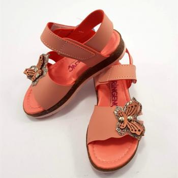 Girl's Velcro Strap Orange Orthopedic Sandals