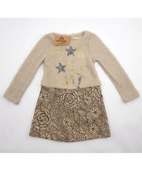 Girl's Long Sleeves Patterned Mink Dress