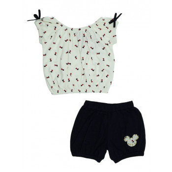 Girl's Patterned White Combed Cotton Blouse& Black Shorts Set