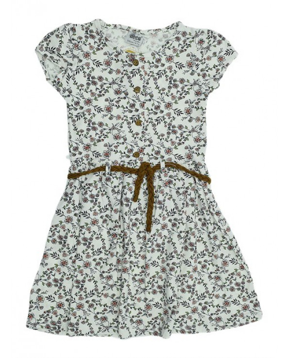 Girl's Floral Pattern Combed Cotton Dress