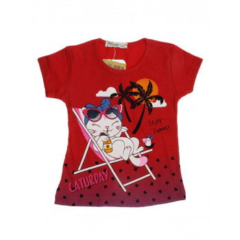 Girl's Printed Red T-shirt
