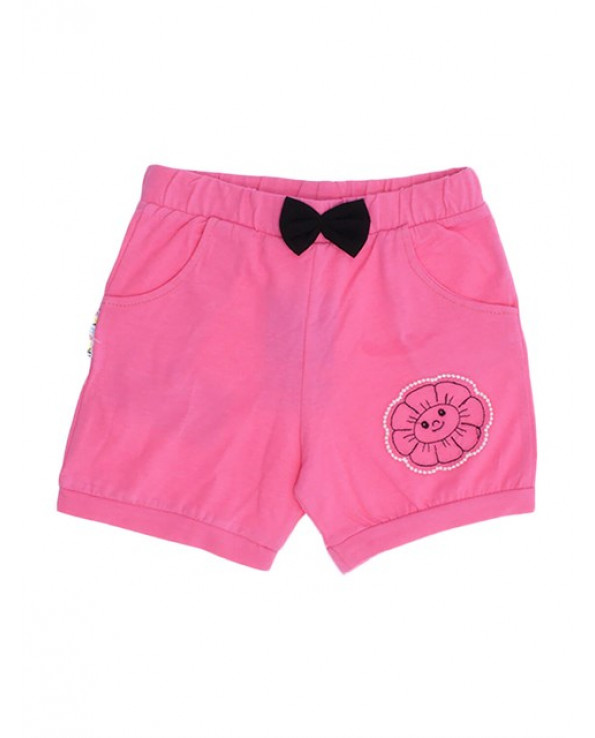 Girl's Pocket Pink Combed Cotton Shorts