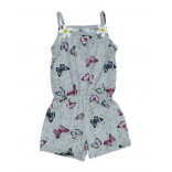 Girl's Butterfly Print Pink Combed Cotton Overall