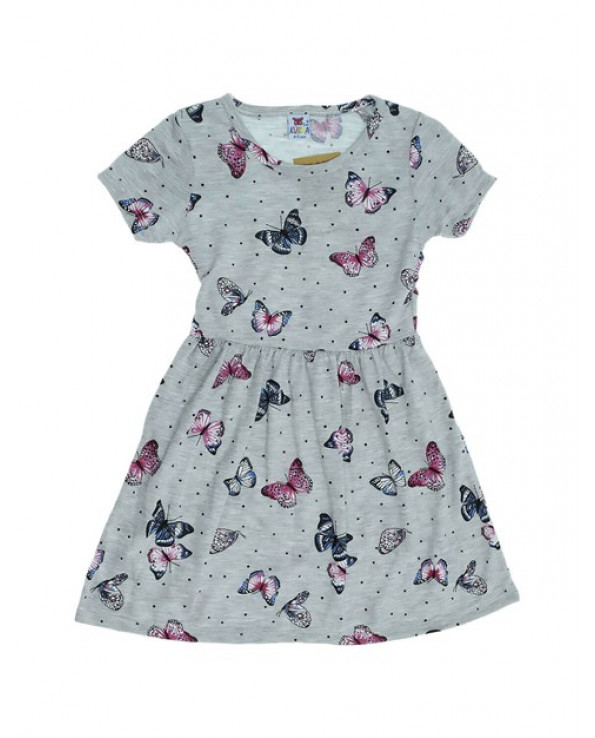 Girl's Butterfly Print Grey Combed Cotton Dress