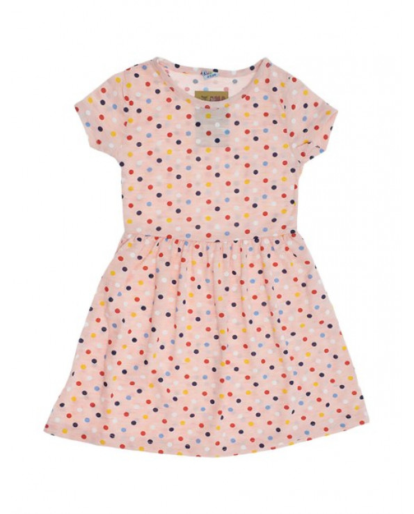 Girl's Polka-Dot Dotted Light Pink Combed Cotton Dress