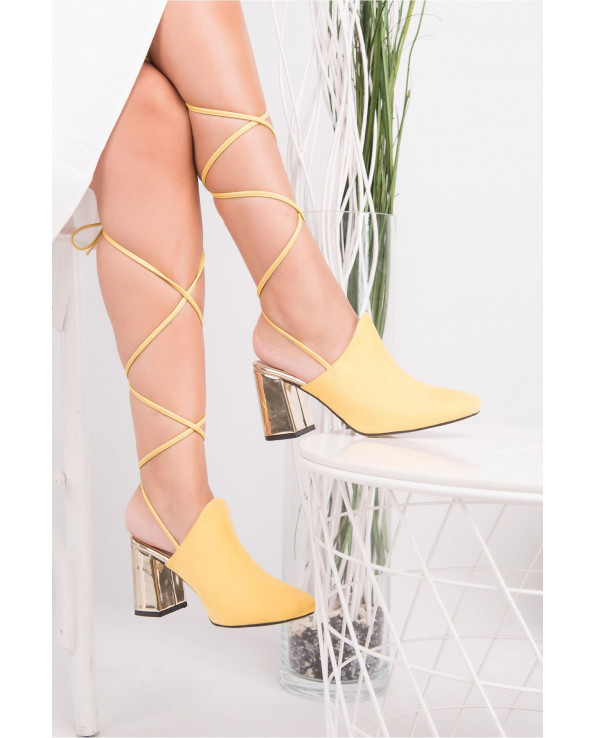 Women's Rope Detail Yellow Suede Heeled Shoes