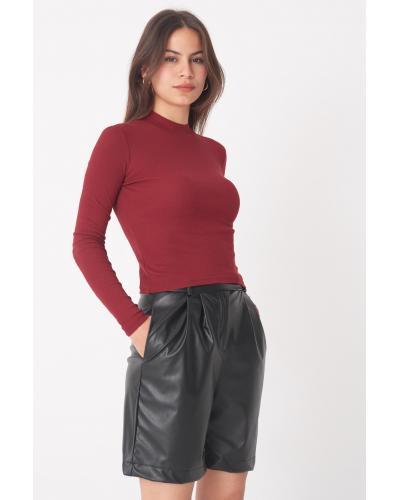 Women's Long Sleeves Claret Red Blouse
