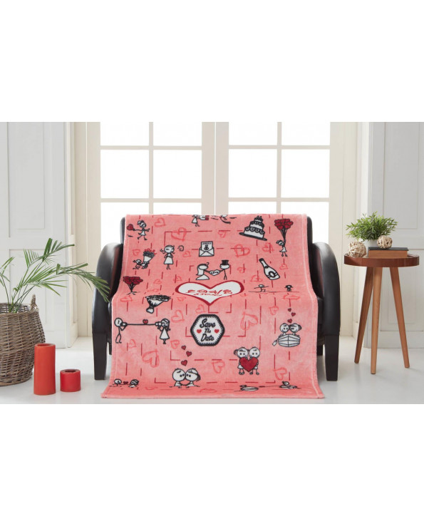 Patterned Pink Wellsoft TV Blanket- 100x170 cm