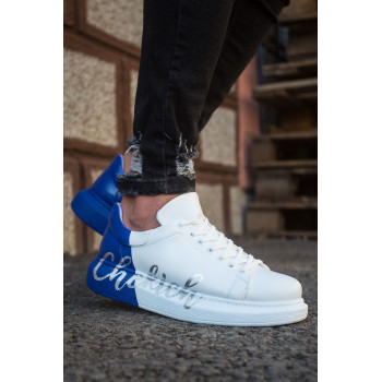 Men's Lace-up Printed White- Blue Sport Shoes