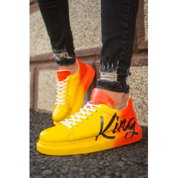 Men's Printed Yellow- Orange Sport Shoes
