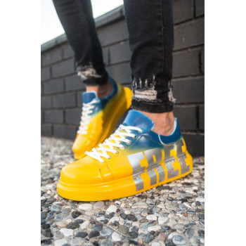 Men's Printed Yellow- Blue Sport Shoes