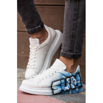 Men's Printed White- Blue Sport Shoes