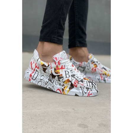 Men's Patterned White Shoes
