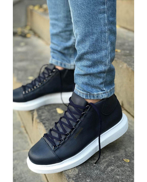 Men's Lace-up Navy Blue Boots