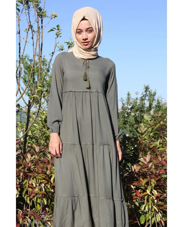 Women's Tie Collar Modest Dress
