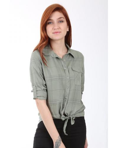 Women's One Pocket Patterned Tie Front Shirt
