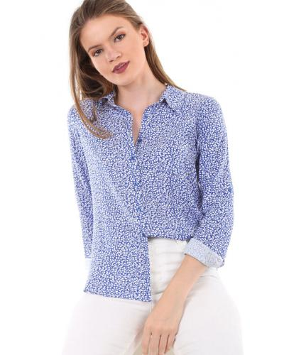 Women's Roll-up Sleeves Patterned Shirt