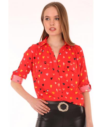 Women's Patterned Red Shirt