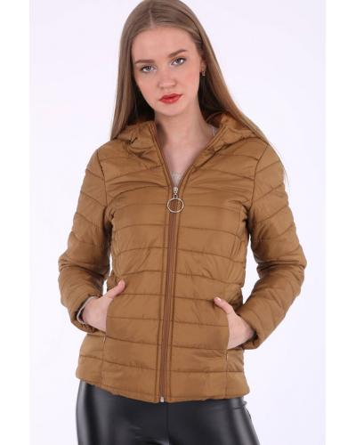 Women's Zipped Hooded Blown Coat
