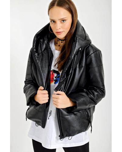 Women's Oversize Black Leather Coat