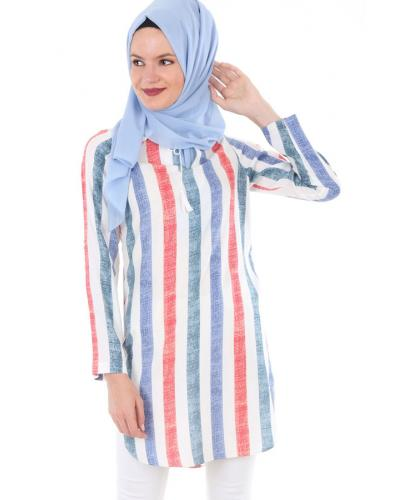Women's Lace-up Collar Striped Modest Tunic