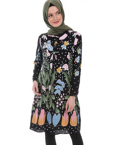 Women's Crew Neck Button Patterned Tunic
