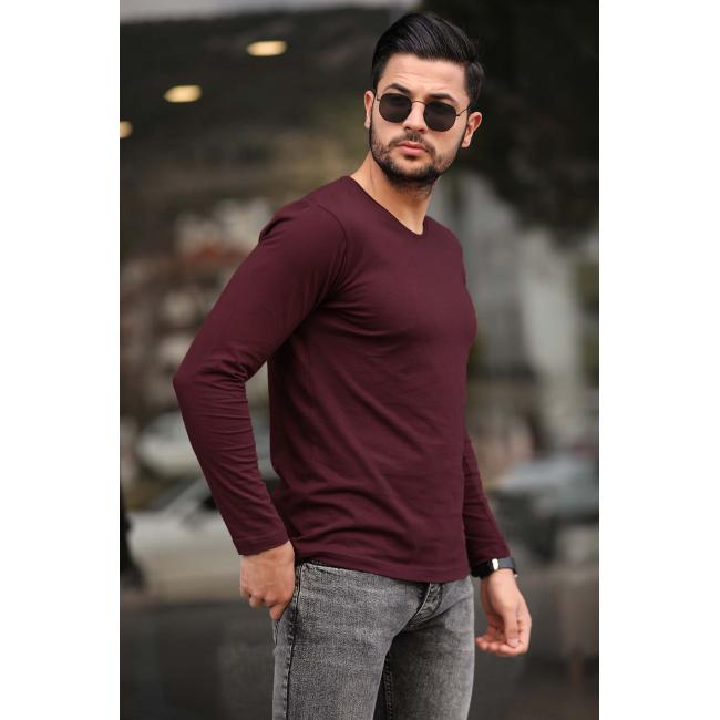 Men's Crew Neck Claret Red Sweatshirt