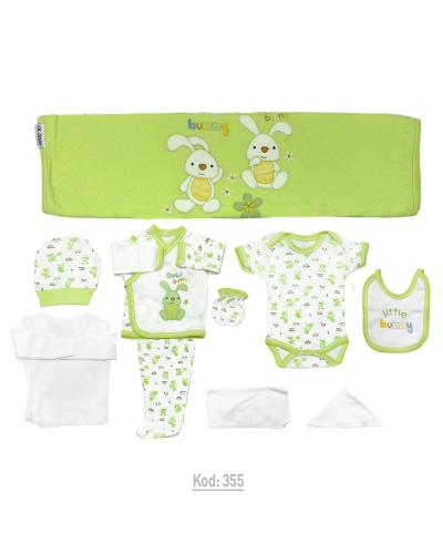 New Born Baby's Green- White 10 Pieces Outfit Set