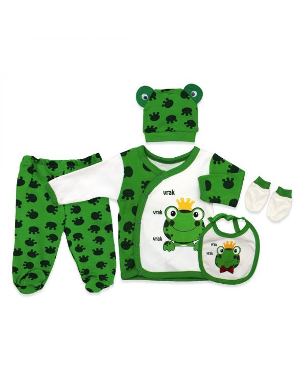 New Born Baby's Printed 5 Piece Outfit Set