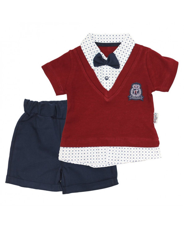 Baby's Summer Claret Red T-shirt& Shorts Set